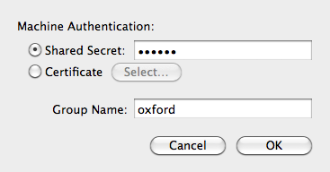 Oxford VPN authentication settings