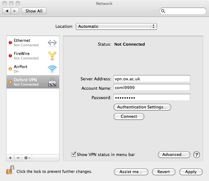 Configuring the Oxford VPN